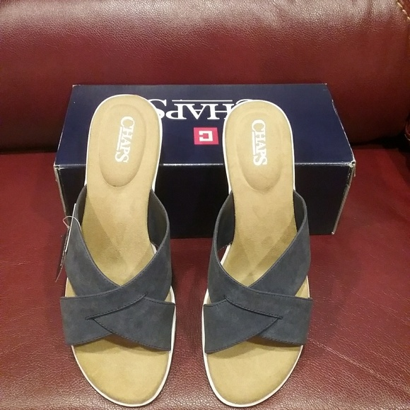 Chaps Shoes - NWT Chaps Navy Faux Suede 10 Sandals Final Price